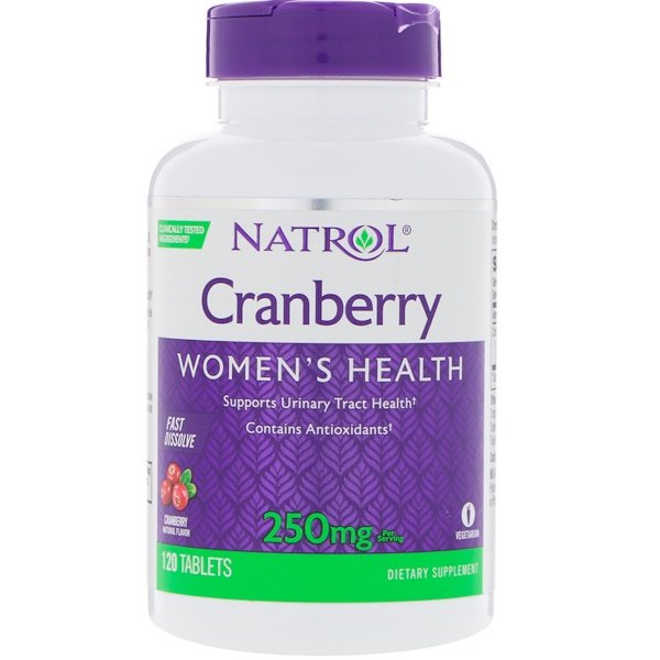 Natrol, Cranberry, Fast Dissolve, Cranberry Flavor, 250 mg, 120 Tablets