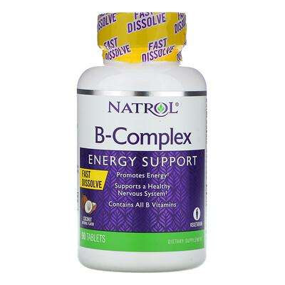 Купить Natrol Комплекс витаминов группыB, быстрорастворимые, натуральный кокосовый вкус, 90таблеток