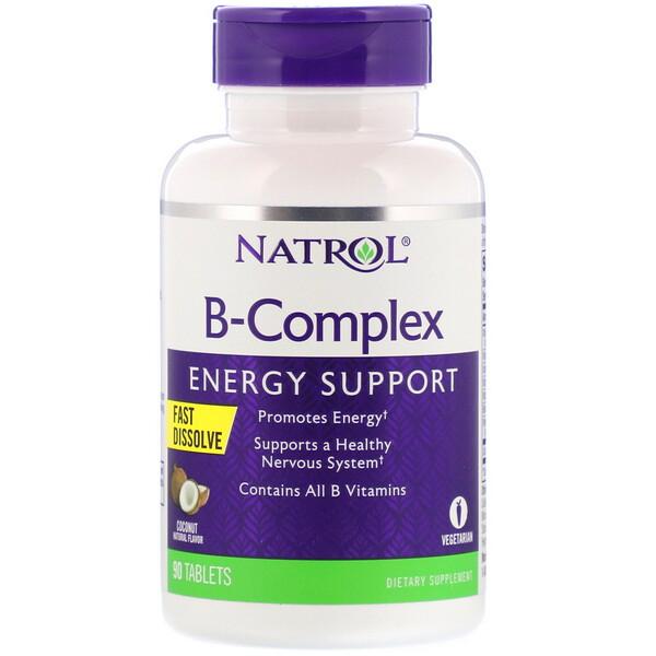 Natrol, B-Complex, Fast Dissolve, Coconut Natural Flavor, 90 Tablets