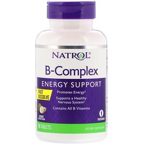 Natrol, Complexo-B, Dissolução Rápida, Sabor Natural de Coco, 90 Comprimidos