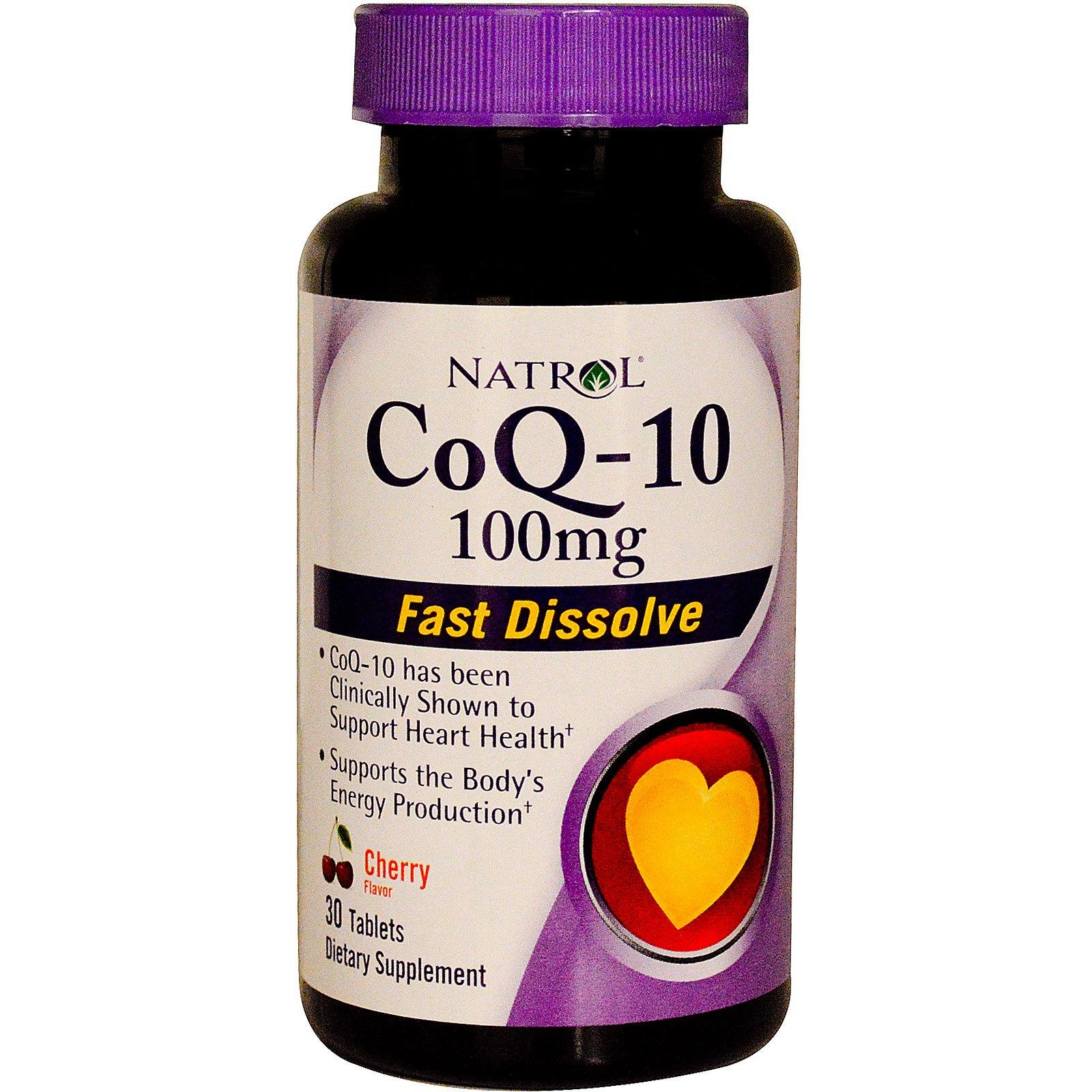 Natrol, CoQ-10, быстрорастворимый, вишневый вкус, 100 мг, 30 таблеток