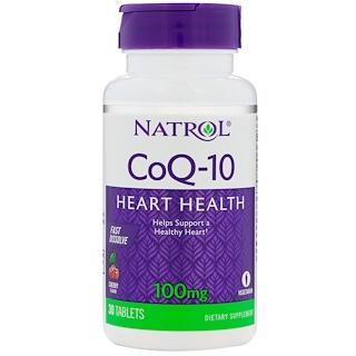 Natrol, CoQ-10, Fast Dissolve, Cherry Flavor, 100 mg, 30 Tablets