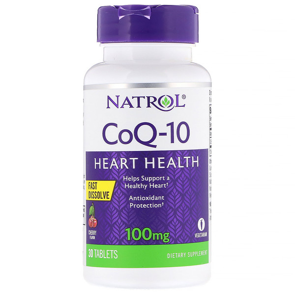Natrol, CoQ-10, Fast Dissolve, Cherry, 100 mg, 30 Tablets