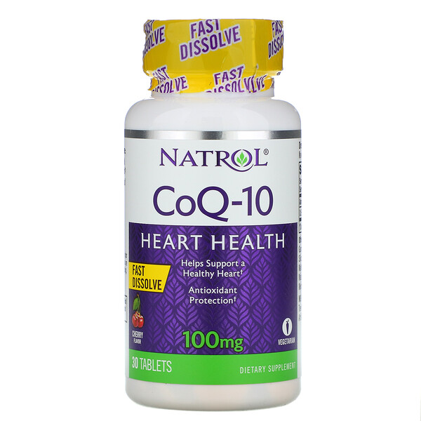 CoQ-10, rápida disolución, sabor a cereza, 100 mg, 30 comprimidos