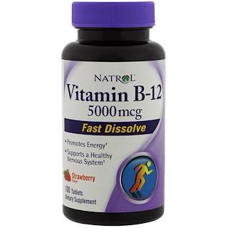 Natrol, Vitamin B-12, Fast Dissolve, Strawberry Flavor, 5000 mcg, 100 Tablets