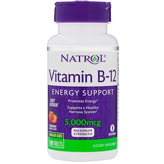 Natrol, Vitamin B-12, Strawberry Flavor, 5000 mcg, 100 Tablets