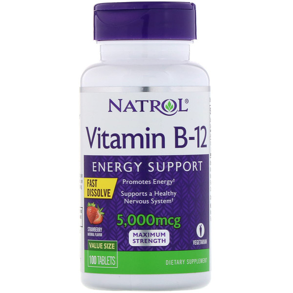 Natrol, Vitamin B-12, Fast Dissolve, Maximum Strength, Strawberry, 5,000 mcg, 100 Tablets
