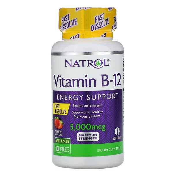 Vitamin B-12, Fast Dissolve, Maximum Strength, Strawberry, 5,000 mcg, 100 Tablets