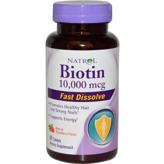 Natrol, Biotin, Natural Strawberry Flavor, 10,000 mcg, 60 Tablets