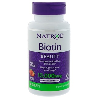 Natrol, Biotin, Strawberry Flavor, 10,000 mcg, 60 Tablets