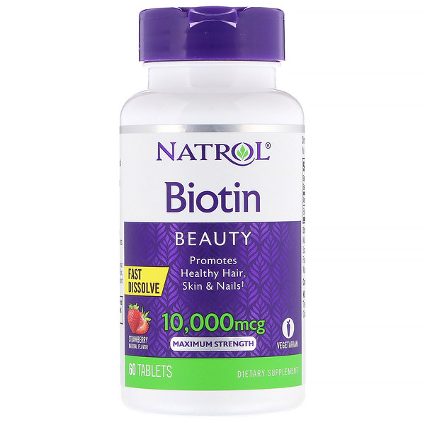 Natrol, Biotin, Maximum Strength, Strawberry, 10,000 mcg, 60 Tablets