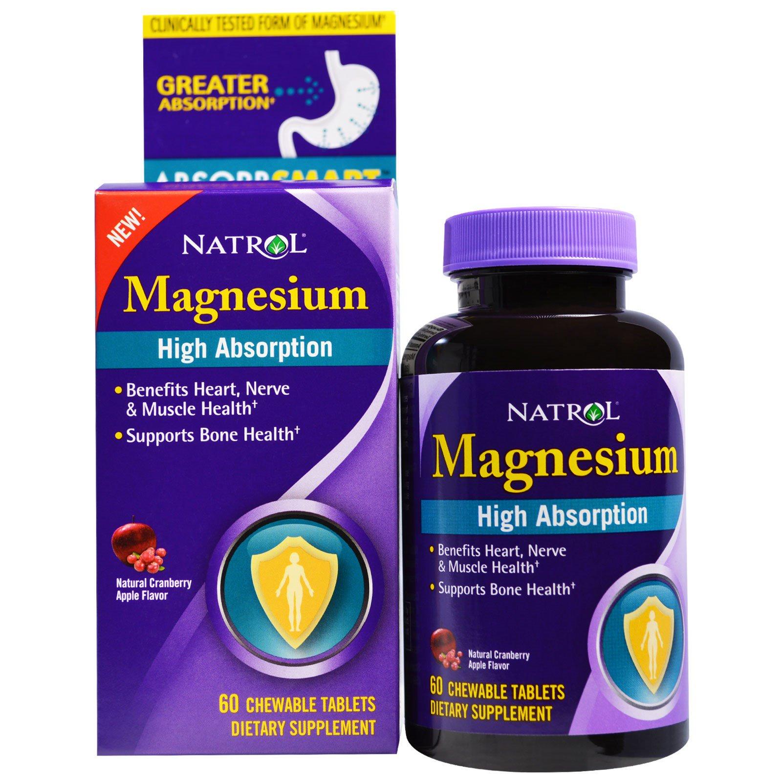 Natrol, Магний с высокой степенью поглощения, натуральный вкус клюквы и яблока, 60 жевательных таблеток