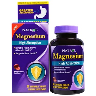 Natrol, High Absorption Magnesium, Natural Cranberry Apple Flavor, 60 Chewable Tablets