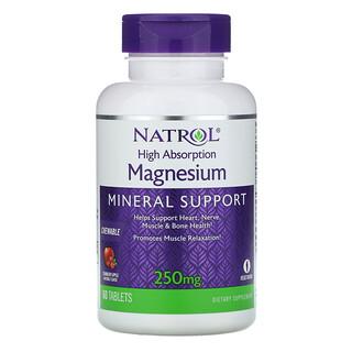 Natrol, магний с высоким усвоением, натуральный ароматизатор «Клюква и яблоко», 250мг, 60 таблеток