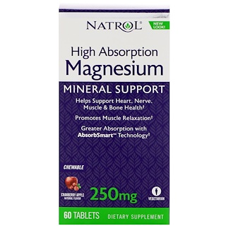 Natrol, High Absorption Magnesium, Cranberry Apple Flavor, 250 mg, 60 Tablets