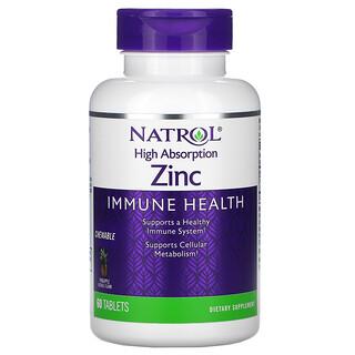 Natrol, High Absorption Zinc, Natural Pineapple Flavor, 60 Tablets