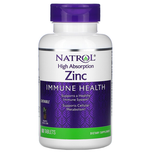 High Absorption Zinc, Natural Pineapple Flavor, 60 Tablets