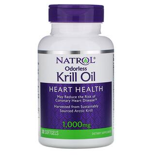 Natrol, زيت الكريل بدون رائحة 1.000 مجم، 30 كبسولة هلامية