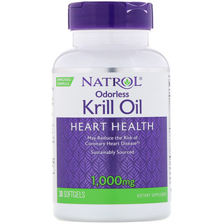 Natrol, Odorless Krill Oil, 1,000 mg, 30 Softgels