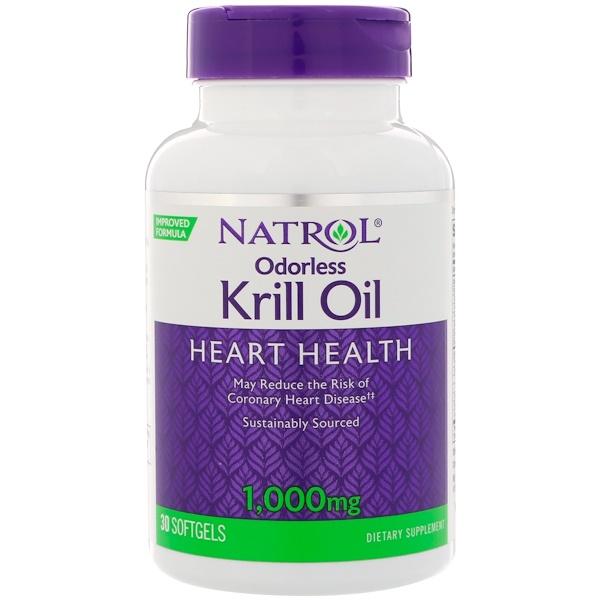 Natrol, Odorless Krill Oil, 1,000 mg, 30 Softgels