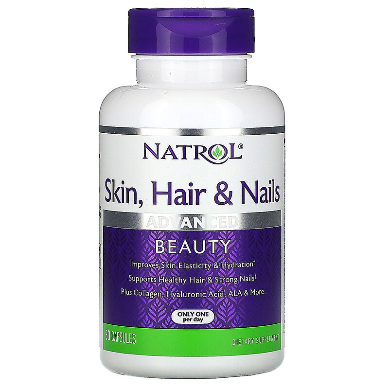 iHerb 日本美妝 補充品 Natrol, 皮膚、頭髮和指甲,高級美容,60 粒膠囊