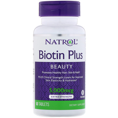 Biotin Plus, Extra Strength, 5,000 mcg, 60 Tablets super silica plus 60 tablets