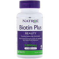 Biotin Plus, Extra Strength, 5,000 mcg, 60 Tablets - фото