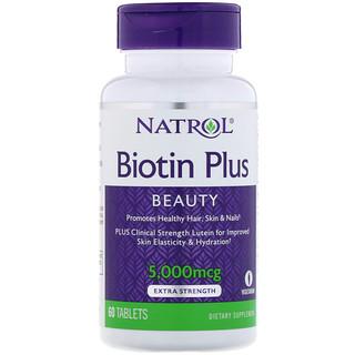 Natrol, Biotin Plus, Beauty, Extra Strength, 5,000 mcg, 60 Tablets