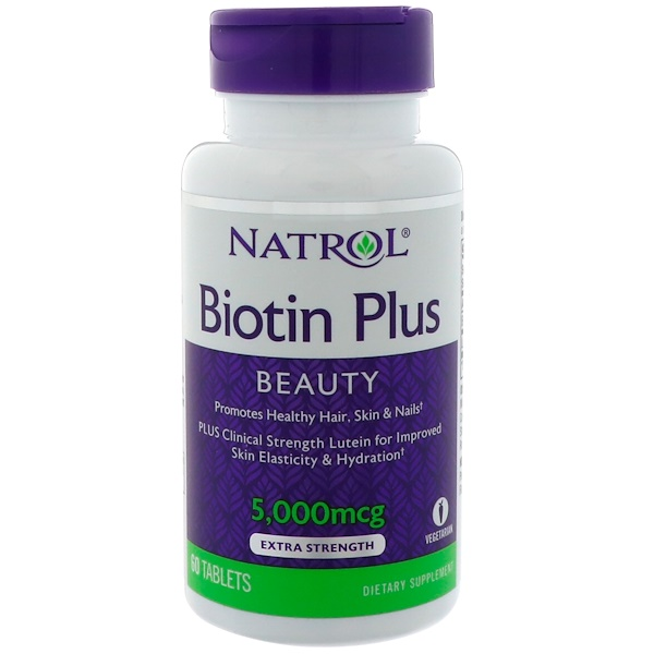 Natrol, Biotin Plus, Beauty, Extra Strength, 5,000 mcg, 60 Tablets