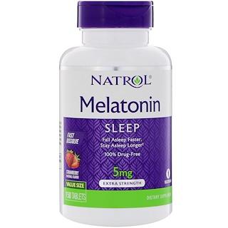 Natrol, Mélatonine, dissolution rapide, fraise, 5 mg, 150 Comprimés
