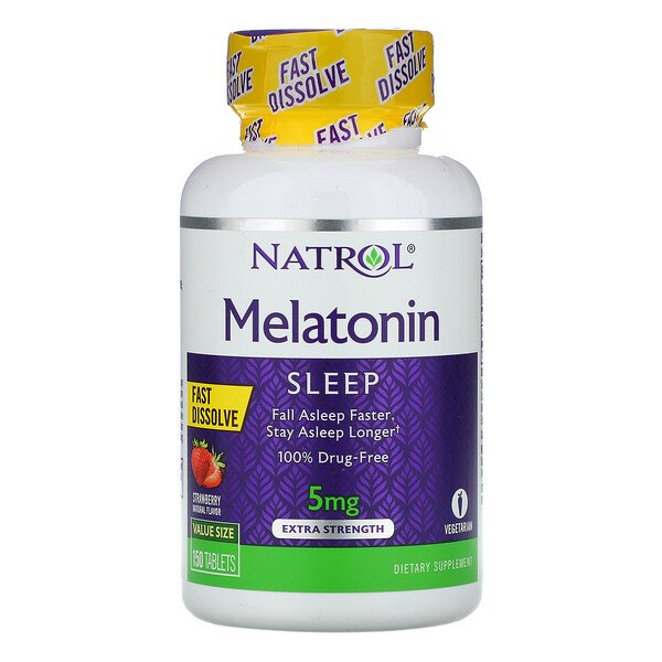 Natrol, Melatonin, Fast Dissolve, Extra Strength, Strawberry, 5 mg, 150 Tablets