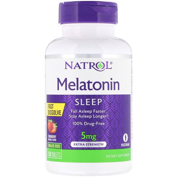 Melatonin, Fast Dissolve, Extra Strength, Strawberry, 5 mg, 150 Tablets