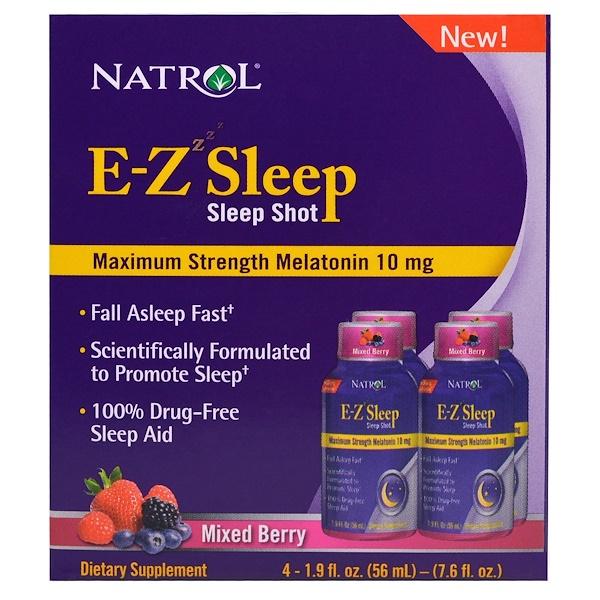 Natrol, E-Z Sleep, Sleep Shot, Maximum Strength Melatonin, Mixed Berry, 4 Pack, 1.9 oz (56 ml) (Discontinued Item)