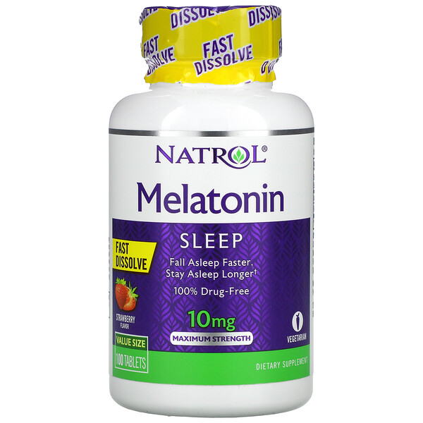 Melatonin, Fast Dissolve, Maximum Strength, Strawberry, 10 mg, 100 Tablets