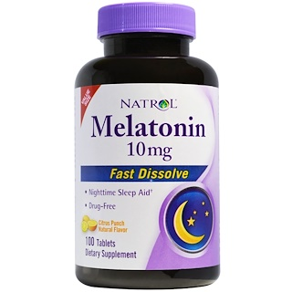 Natrol, Melatonin Fast Dissolve, Citrus Punch Natural Flavor, 10 mg, 100 Tablets