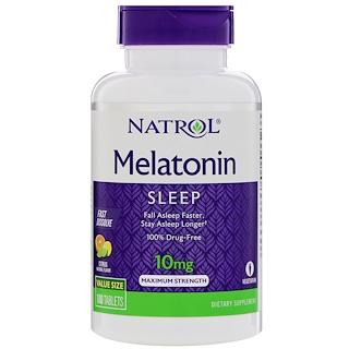 Natrol, ميلاتونين، قوة قصوى، نكهة الليمون، 10 مجم، 100 قرص
