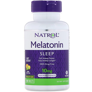 Natrol, Melatonina, Força Máxima, Sabor de Citrus , 10 mg, 100 Comprimidos