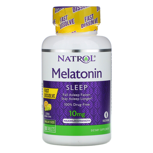 Melatonin, Maximum Strength, Citrus Flavor , 10 mg, 100 Tablets