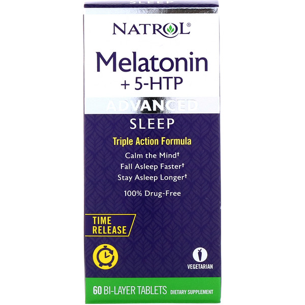 Melatonin + 5-HTP, Advanced Sleep, besserer Schlaf, 60 Zweischichttabletten