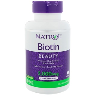 Natrol, Biotin, Extra Strength, 5000 mcg, 150 Tablets