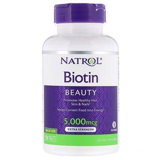 Natrol, بيوتين، قوة إضافية, 5000 ميكروغرام 150 قرصاً