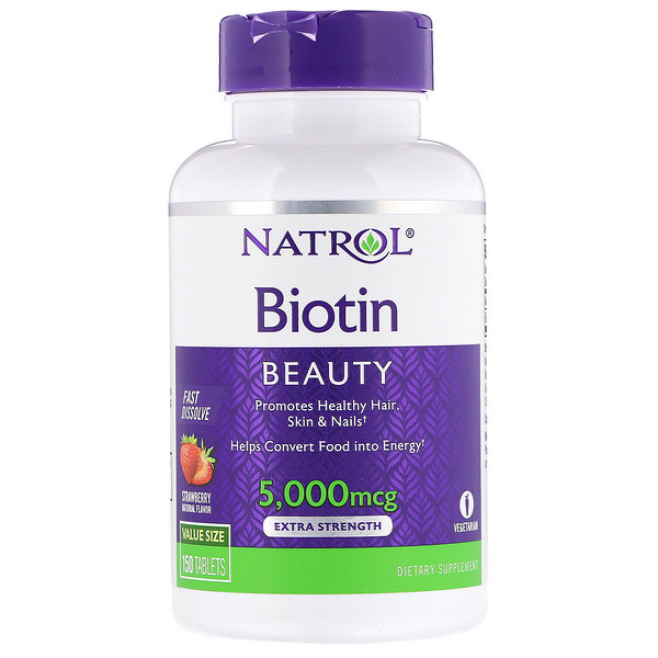 Natrol, Biotin, Extra Strength, Strawberry, 5,000 mcg, 150 Tablets
