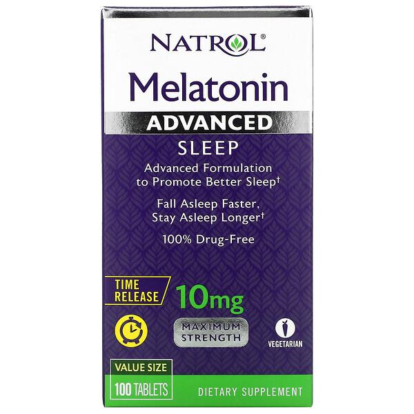 """Melatonin Advanced Sleep, בשחרור מבוקר, 10 מ""""ג, 100 טבליות"""