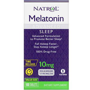 Natrol, Melatonin Advanced Sleep, Time Release, 10 mg, 100 Tablets'