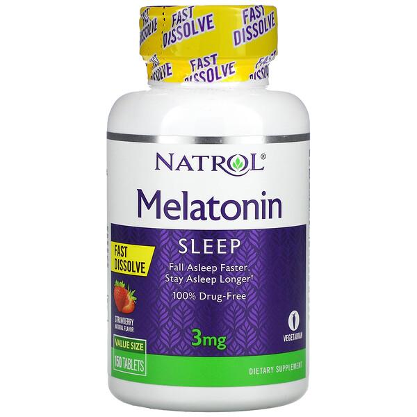 Melatonin, Fast Dissolve, Strawberry, 3 mg, 150 Tablets