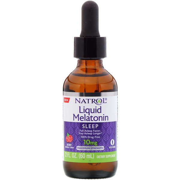 Natrol, Liquid Melatonin, Sleep, Berry Natural Flavor, 10 mg, 2 fl oz (60 ml) (Discontinued Item)