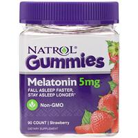 Жевательные таблетки, мелатонин, клубника, 5 мг, 90 штук - фото