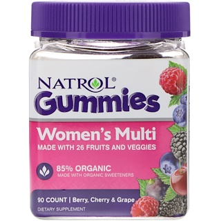 Natrol, Gummies, Women's Multi, Berry, Cherry & Grape, 90 Count