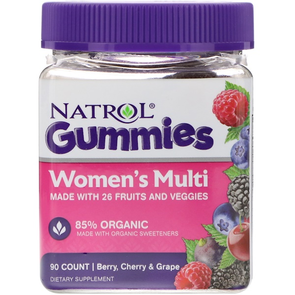 Natrol, Gummies, Women's Multi, Berry, Cherry & Grape, 90 Count (Discontinued Item)