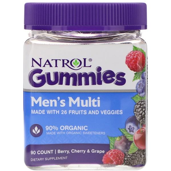 Natrol, Gummies, Men's Multi, Berry, Cherry & Grape, 90 Count